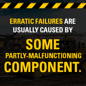Erratic failures are caused by some partly-malfunctioning component.